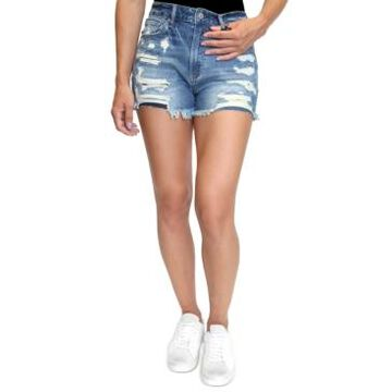 Almost Famous Juniors' Distressed High-Rise Denim Shorts