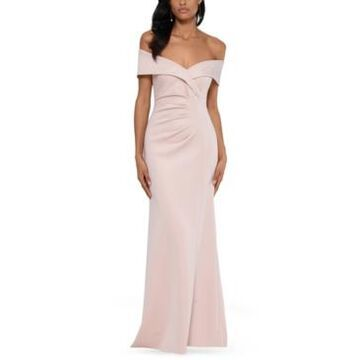 Xscape Off-The-Shoulder Ruched Gown