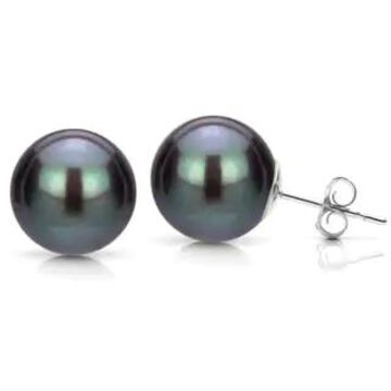 DaVonna 14k White Gold Black Perfect Round Freshwater Pearl Stud Earrings (5-12 mm) (9-9.5MM)