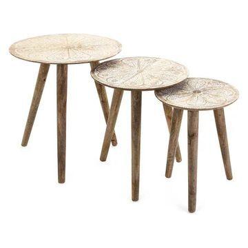 Imax Cashel Round Tables, Set of 3, Cream Finish