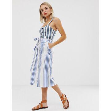 Monki stripe midi skirt in blue