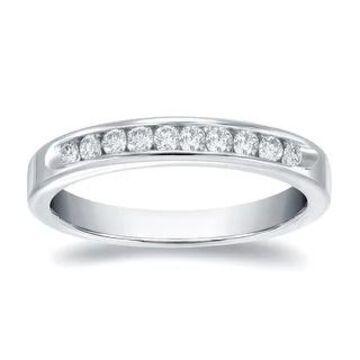 Auriya 14k Gold 1/5ctw Channel-set Diamond Wedding Band (White - 8.5)