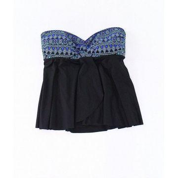 Miraclesuit Black Womens Size 14 Printed Draped Swim Tankini Top