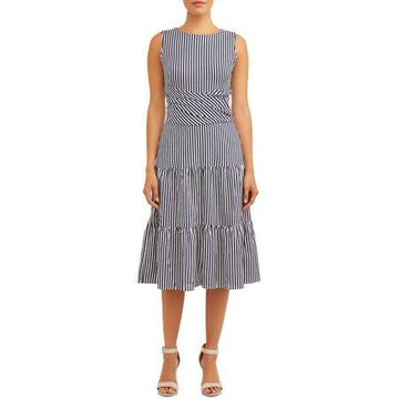 ECI Women's Sleeveless Stripe Midi Dress