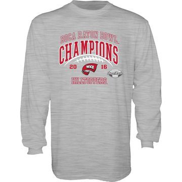 Western Kentucky Hilltoppers Blue 84 2016 Boca Raton Bowl Champions Long Sleeve T-Shirt - Heathered Gray