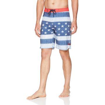 Rip Curl Blue Mens Size 31 Stars Stripes Print Board Surf Shorts
