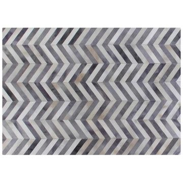 Exquisite Rugs Chevron Pewter / White Leather Hair-on-Hide Rug - 11'6' x 14'6'