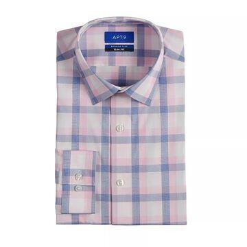 Men's Apt. 9 Premier Flex Slim-Fit Spread-Collar Dress Shirt, Size: Medium-32/33, Med Pink