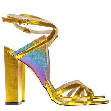 Marc Ellis Laminated Gold Leather Multicolor Insert Sandals