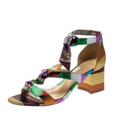 Alexandre Birman Multicolor Metallic Canvas Lolita Knot Detail Sandals Size 38