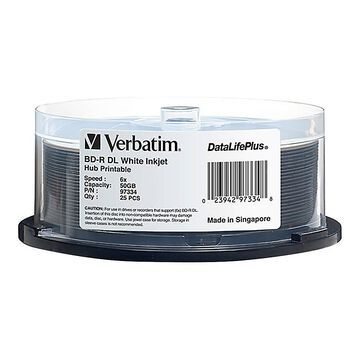 Verbatim BD-R DL 50GB 6X DataLifePlus White Inkjet Printable, Hub Printable - 25pk Spindle - 50GB - 120mm Standard - 25 Pack Spindle