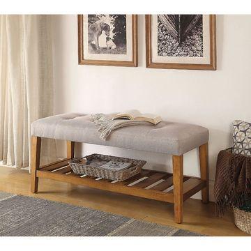 Benzara Wooden Backless Bench