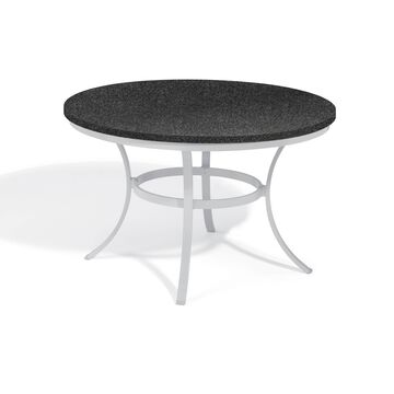 Oxford Garden Travira 48-inch Round Lite-Core Granite Charcoal Dining Table with Powder Coated Aluminum Frame
