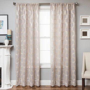Softline Brach Geometric Applique Sheer Curtain Panel