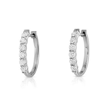 Noray Designs 14k White Gold 7/8ct TDW Diamond Hoop Earrings (White)