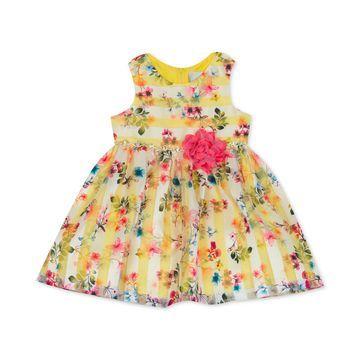 Baby Girls Striped Floral-Print Dress
