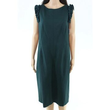 Akris Punto Womens Dress Deep Green Size 14 Sheath Ruffled-Sleeve