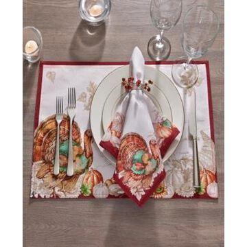 Elrene Holiday Turkey Bordered Fall Placemat, Set of 4