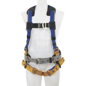 Werner Blue Armor 3-Ring Construction Safety Harness with Removable Work Belt - Blue, Medium/Large, Model H232102