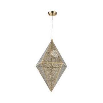 Worldwide Lighting Geometrics 1-Light Champagne Gold Tone Finish Stainless Steel Pendant Light