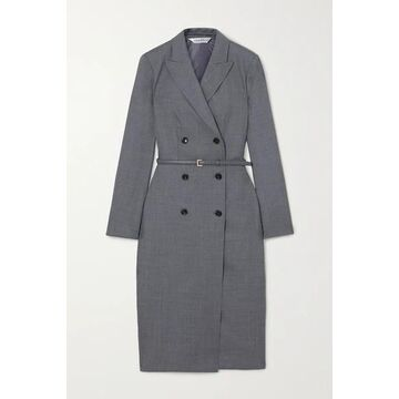 Max Mara - Belted Wool-blend Dress - Gray