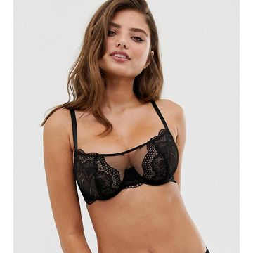 Wolf & Whistle Fuller Bust exposed wire lace and mesh detal bra in black