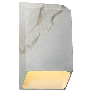 Justice Design Group Ambiance Tapered Rectangle Closed Top LED Wall Sconce - Color: White - Size: Small - CER-5860-STOC