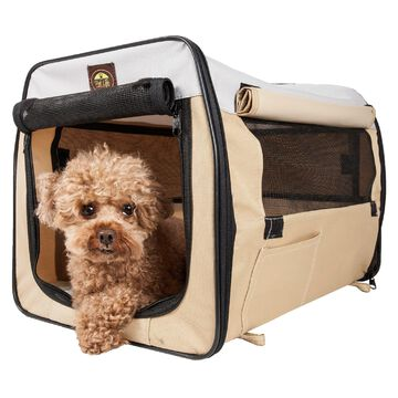"Pet Life Folding Zippered Lightweight Easy Folding Pet Crate in Khaki, 36"" L x 25"" W x 25"" H, Large"