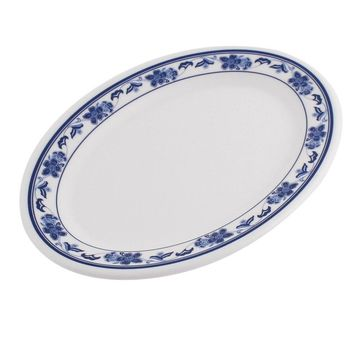 Unique Bargains Plastic Oval Shaped Flower Printed Food Snack Dessert Dish Plate White Blue