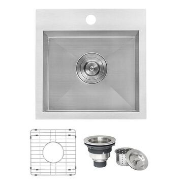 Ruvati Tirana Drop-In 15-in x 15-in Brushed Stainless Steel Single Bowl 1-Hole Kitchen Sink