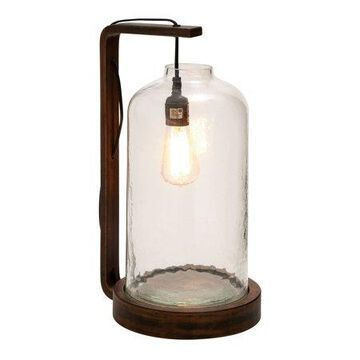 Decmode Wood Glass Lamp, Multi Color