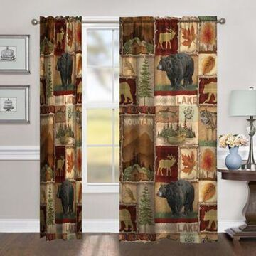 Laural Home Lodge Collage 95-Inch Room-Darkening Rod Pocket Window Curtain Panel