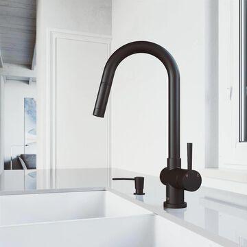 VIGO Gramercy Matte Black 1-Handle Deck-Mount Pull-Down Handle Kitchen Faucet | VG02008MBK2