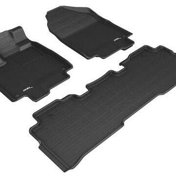 3D Maxpider Kagu Floor Mats, Front and 2nd Row Floor Mats in Black