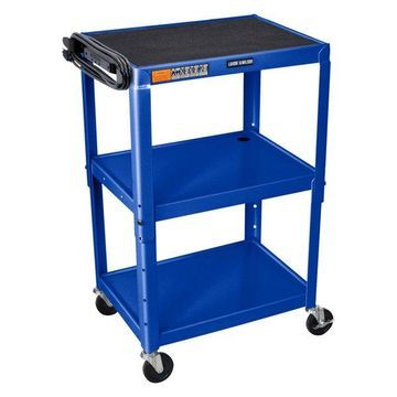Luxor Adjustable Height Royal Blue Metal A/V Cart