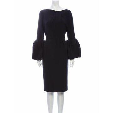 Bateau Neckline Midi Length Dress Black