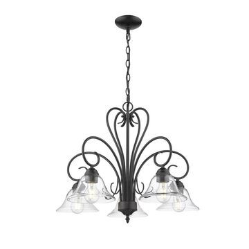 Golden Lighting Homestead 5-Light Black Transitional Chandelier   8606-D5 BLK-CLR
