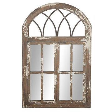 "DecMode 30""W, 48""H Arch Wall Mirror, Brown"