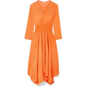 Maje - Shirred Voile Midi Dress - Orange