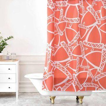 Deny Designs Heather Dutton Acorn Stash Shower Curtain in Orange/White