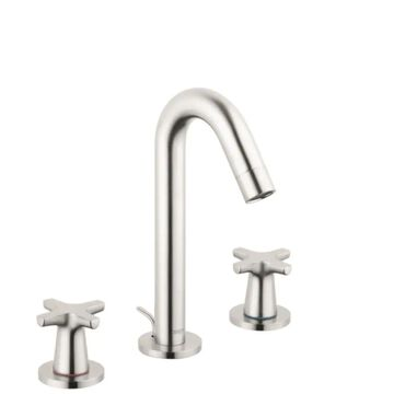 Hansgrohe Logis Brushed Nickel 2-Handle Single Hole WaterSense Bathroom Sink Faucet with Drain   71323821