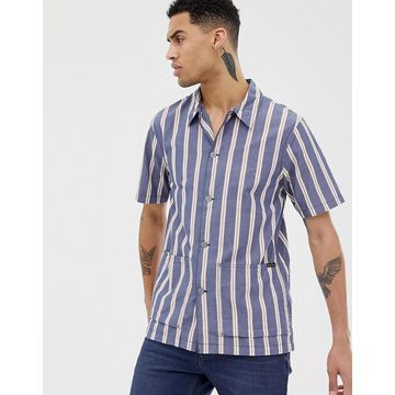 Nudie Jeans Co Svante cuban worker shirt in navy stripe