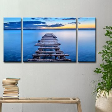 Ready2HangArt 'Pier' 3-Pc Canvas Wall Decor Set - Blue