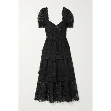 Self-Portrait - Crochet-trimmed Tiered Guipure Lace Midi Dress - Black