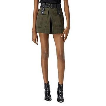 The Kooples Short Khaki Belted Skirt