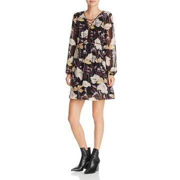 Ella Moss Womens Floral Print Garden Party Mini Dress
