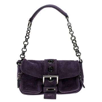 Prada Purple Suede Chain Shoulder Bag