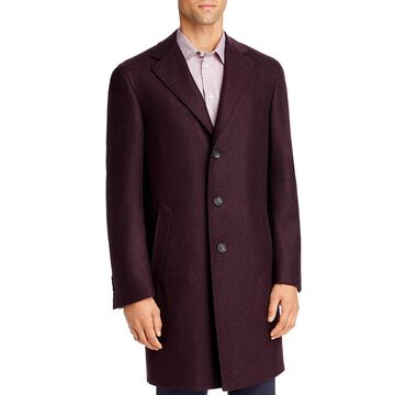 Canali Mens Top Coat Wool Trench - Dark Red - 56R