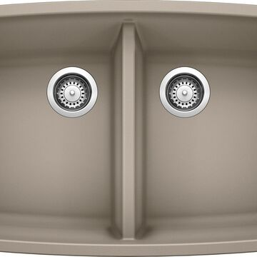BLANCO Performa Undermount 33-in x 20-in Truffle (Brown) Double Equal Bowl Kitchen Sink Walnut   441290