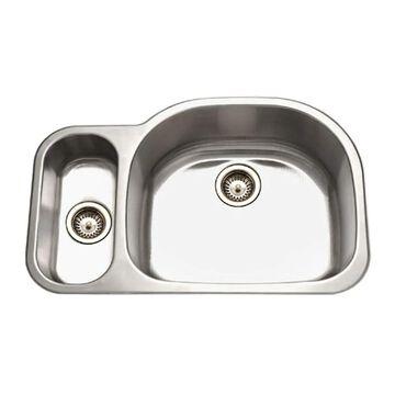 HOUZER Medallion Undermount 32-in x 21-in Lustrous Satin Double Offset Bowl Kitchen Sink Stainless Steel | MG-3209SL-1